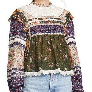 Farm rio mixed liberty blouse lace ruffle